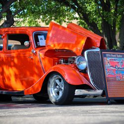Customized red 1934 Ford Tudor