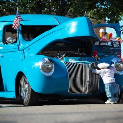 Customized light blue 1940 Ford Delivery Van