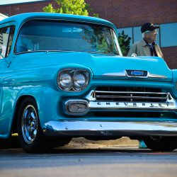 Customized light blue 1950s Chevy Pickup