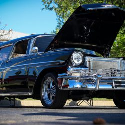 Customized black 1955 Chevy Nomad