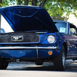 Customized black 1966 Ford Mustang