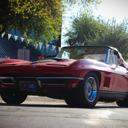 Customized  red 1967 Chevy Corvette