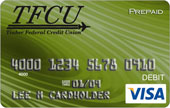 TFCU Visa reloadable card with green whirlpool pattern
