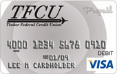 TFCU Visa student card with grey circles