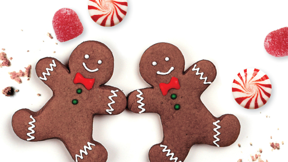 Two gingerbread men surrounded by peppermints and red candy dots on a white background.