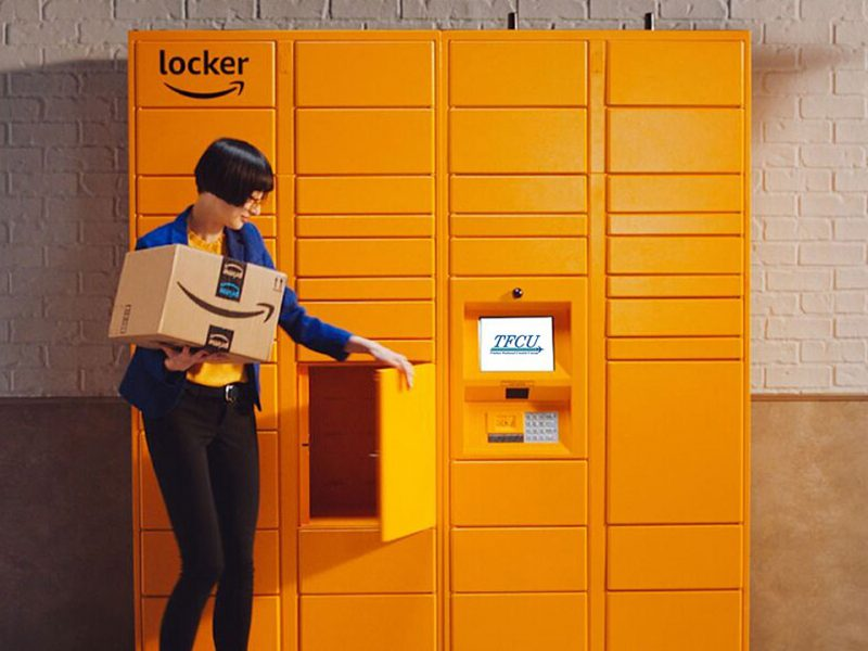 Woman picking up package from an Amazon Locker.