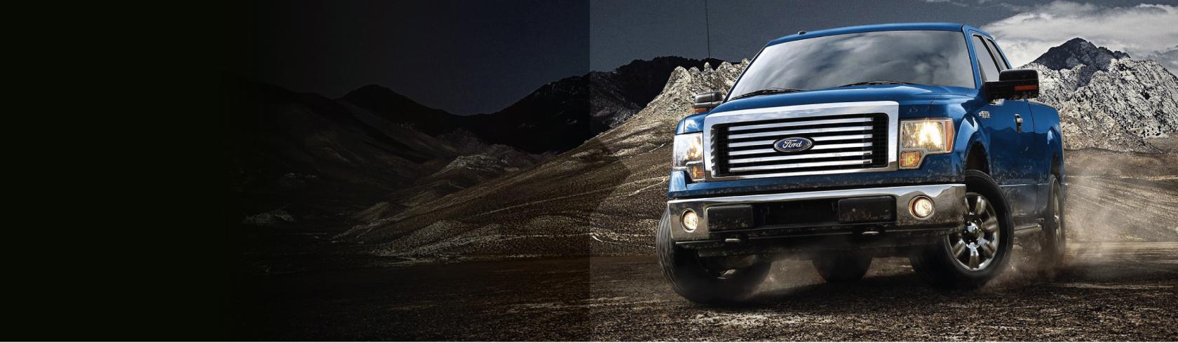 Blue truck driving