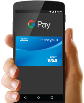 Hand holding a phone displaying TFCU MoneyPlus card and Google Pay logo