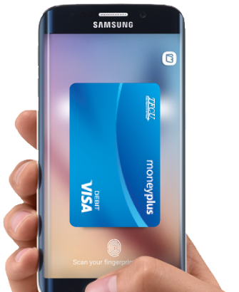 Samsung Pay image of phone with Money Plus Card