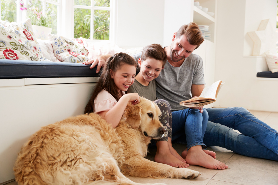 Father reading to son and daughter, who pets family dog while listening.