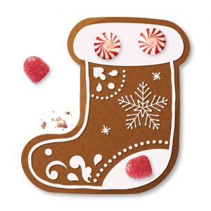 Gingerbread in the shape of a stocking