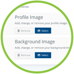 Home Branch 2019 Profile Image and Background Image customization area detail