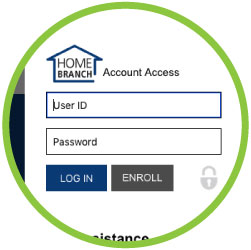 Home branch login detail screen