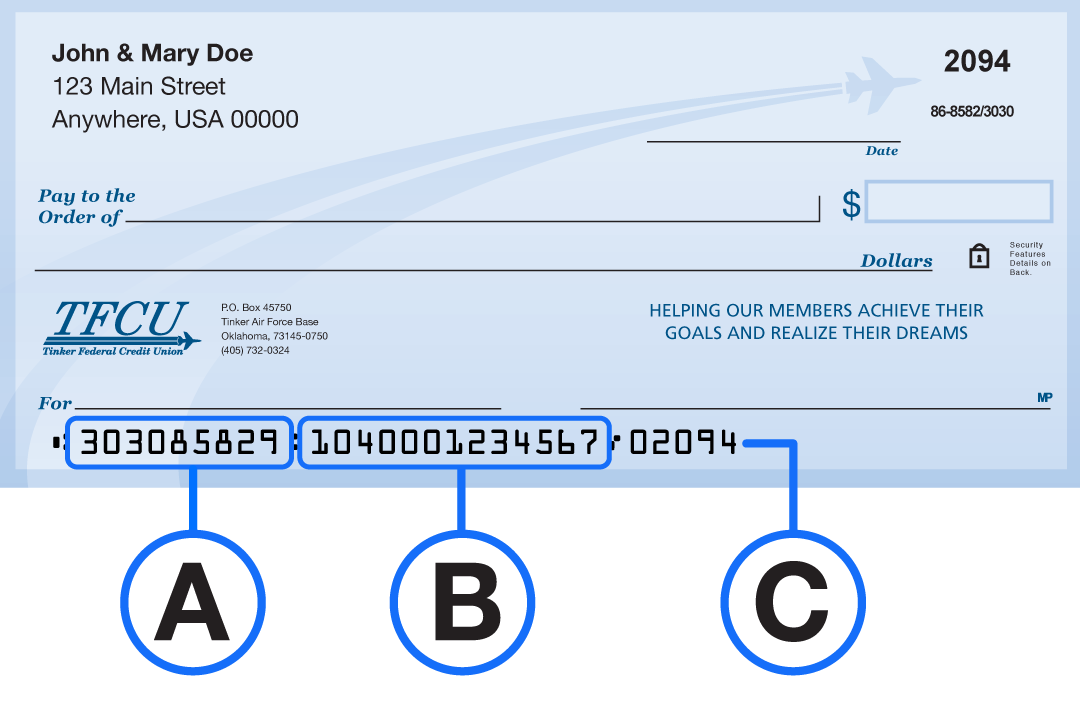 Diagram of TFCU check with lower area indicated for A B and C