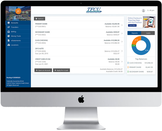 Home Branch 2019 Account View on desktop