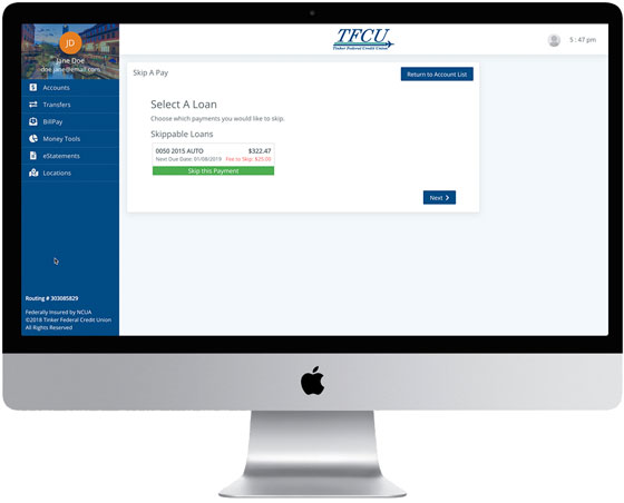 Home Branch 2019 screen Skip Payment Step 1 on desktop