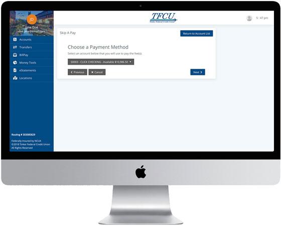 Home Branch 2019 screen Skip Payment Step 2 on desktop