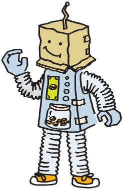 Tinker Federal Credit Union's lovable cartoon robot Save a Tron is waving and smiling with his cardboard box for a head.