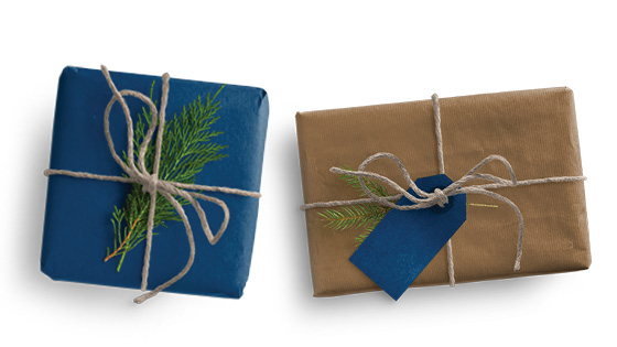 Two gift wrapped presents