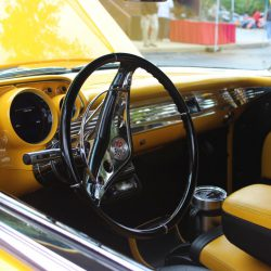 Classic car steering wheels at the 2019 TFCU Miracle Car Show