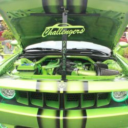 Modern green Dodge Charger with custom paint at the 2019 TFCU Miracle Car Show
