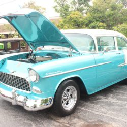 Vintage blue car with white top at the 2019 TFCU Miracle Car Show
