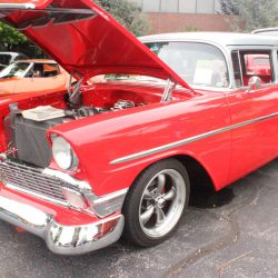 Beautiful red car with the hood up at the 2019 TFCU Miracle Car Show