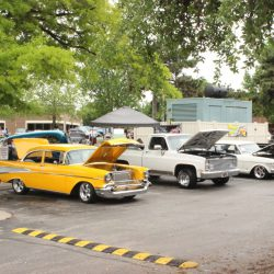 A row of classic cars at the 2019 TFCU Miracle Car Show