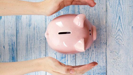 Hands over a piggy bank