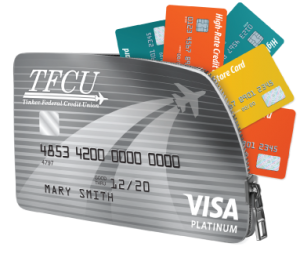TFCU Platinum Card with other cards underneath