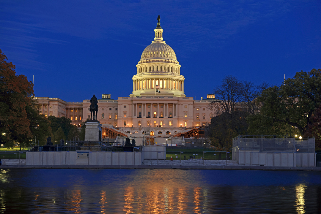 The Capitol Building in Washington DC at night