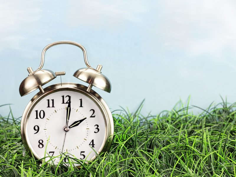 Time change reminder with clock sitting on lawn