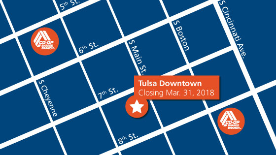 A map of the nearby streets of the Tulsa TFCU Branch that will close in March with an orange circle and white star of it's current location.