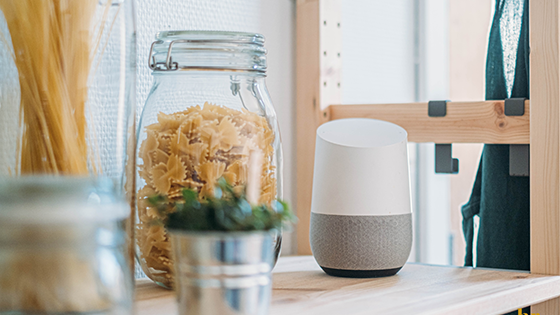 Google home device sitting on a table