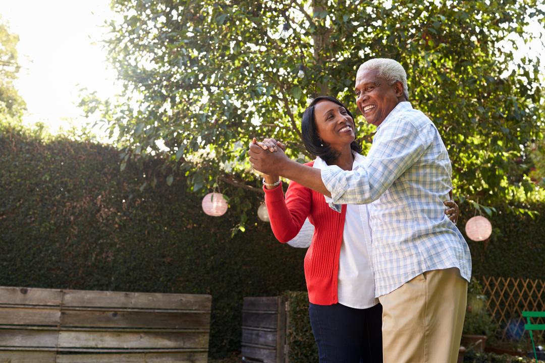 Older man and woman dancing