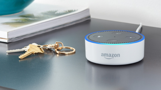 Amazon echo dot home assistant on shelf next to keys
